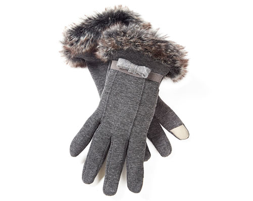 Grey Faux Fur Trimmed Touch Screen Gloves