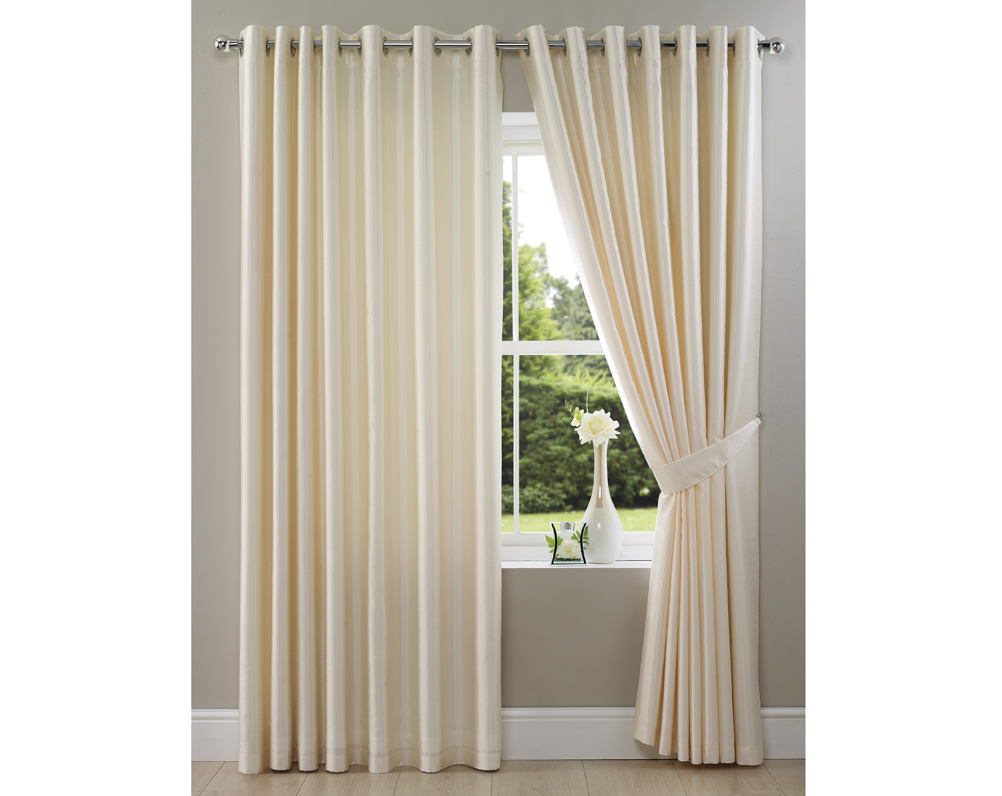 Cream Faux Silk Curtain