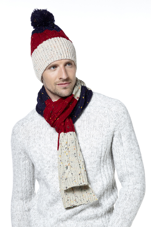 Colour Block Hat & Scarf Set
