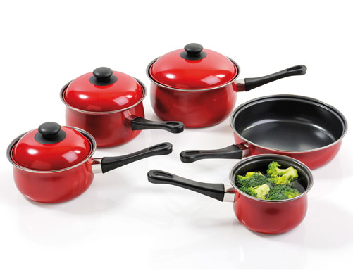 5Pc Carbon Steel Pan Set Red