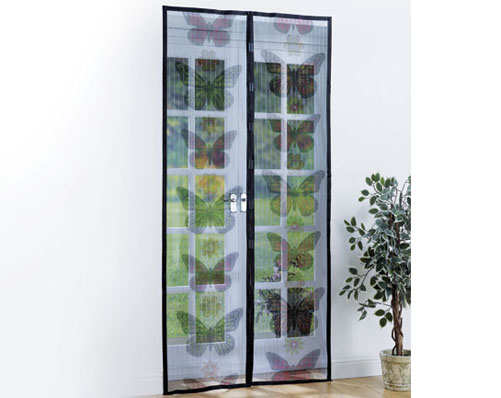 Door Mesh Screen With Butterfly Print