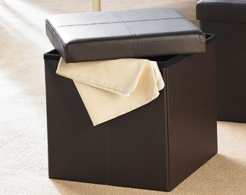 Faux Leather Storage Stool