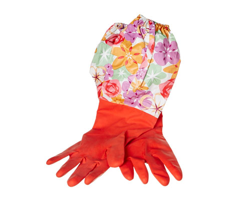 Rubber Gloves With Sleeve Protectors